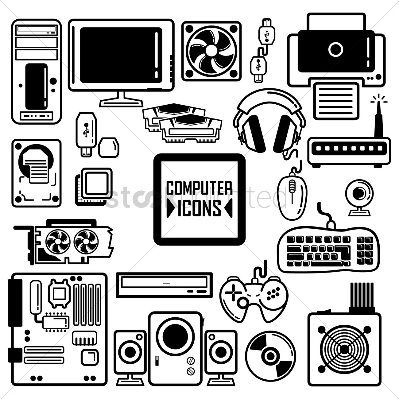 Collection Of Computer Components And Peripherals Vector