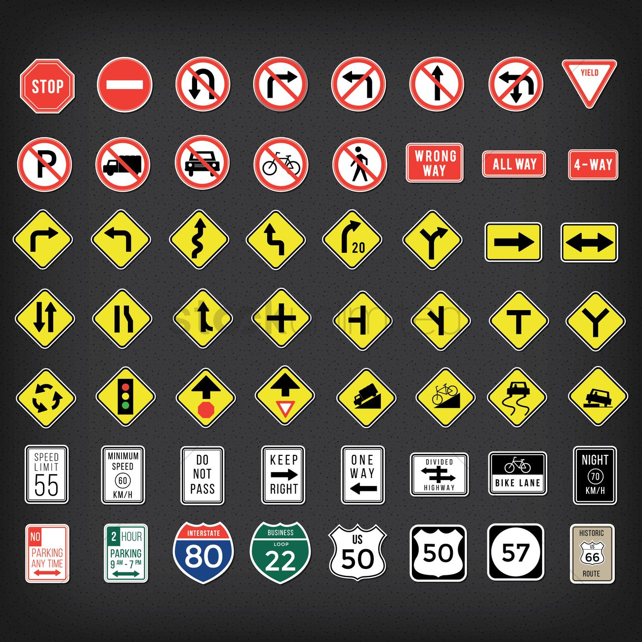 Collection Of Us Road Signs Vector Image