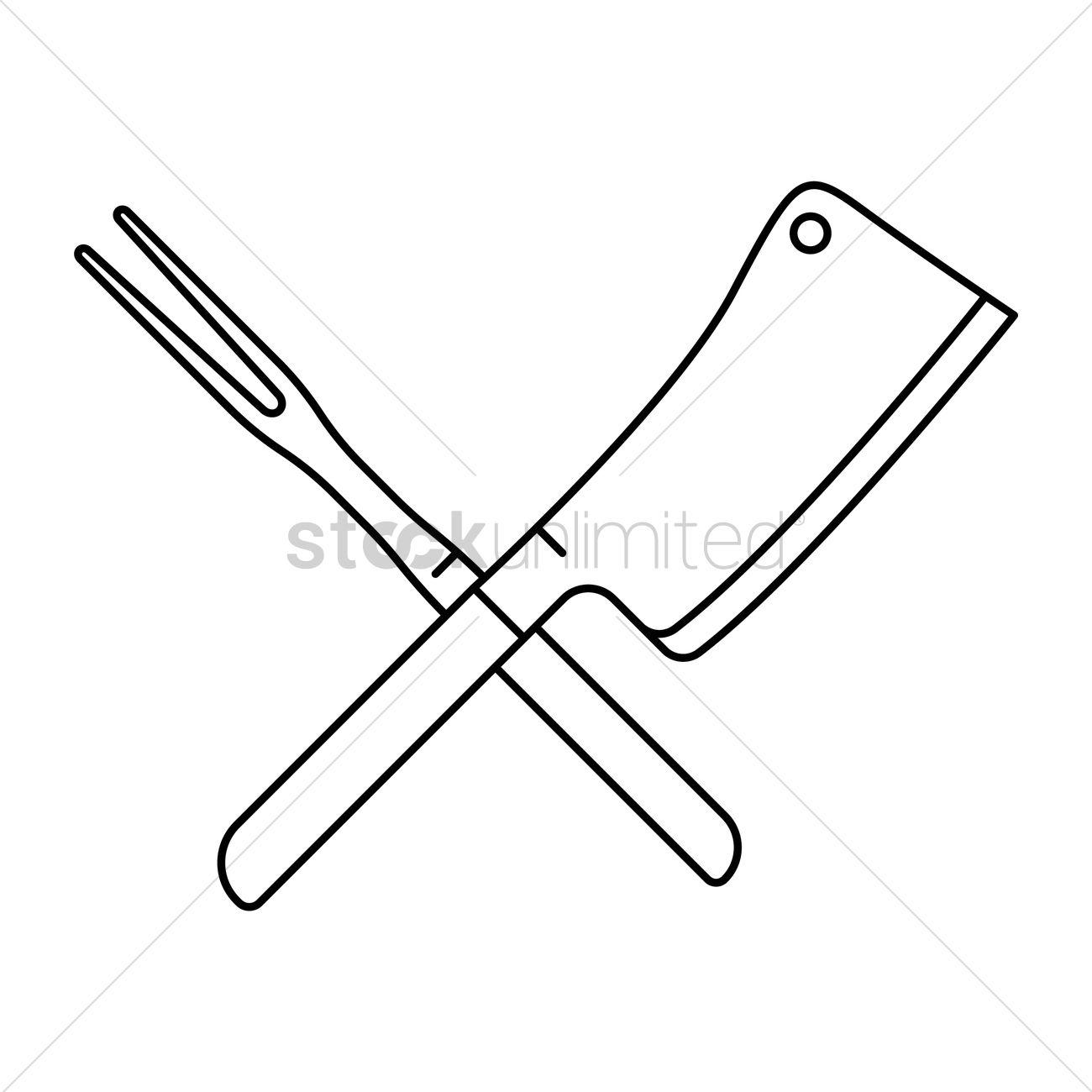 Crossed Steak Fork And Butcher Knife Vector Image