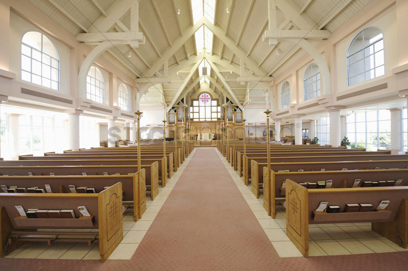Modern Church Interior Stock Photo