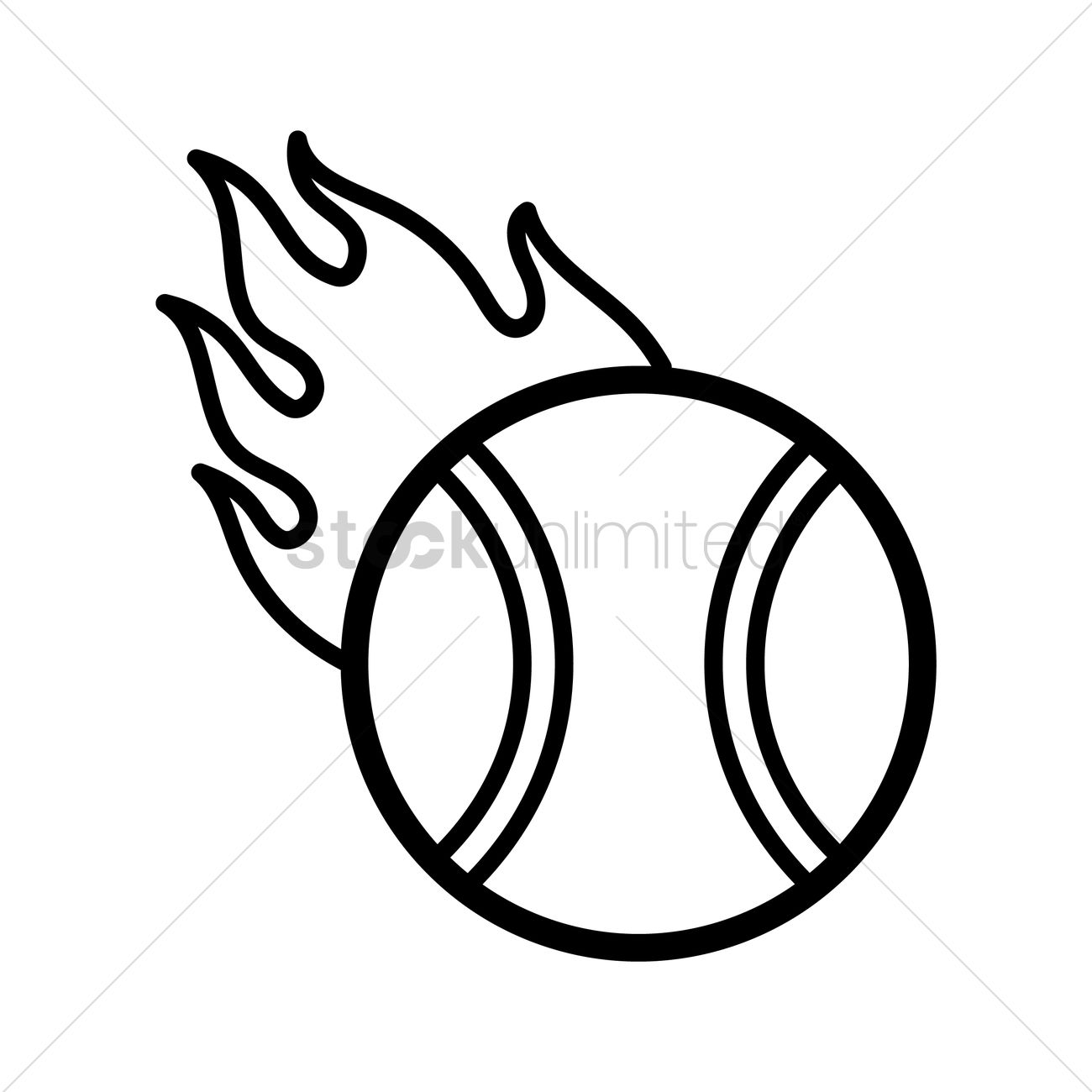 Tennis Ball On Fire Vector Image