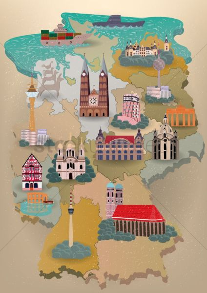 Germany map with landmarks Vector Image   1614518   StockUnlimited germany map with landmarks vector graphic
