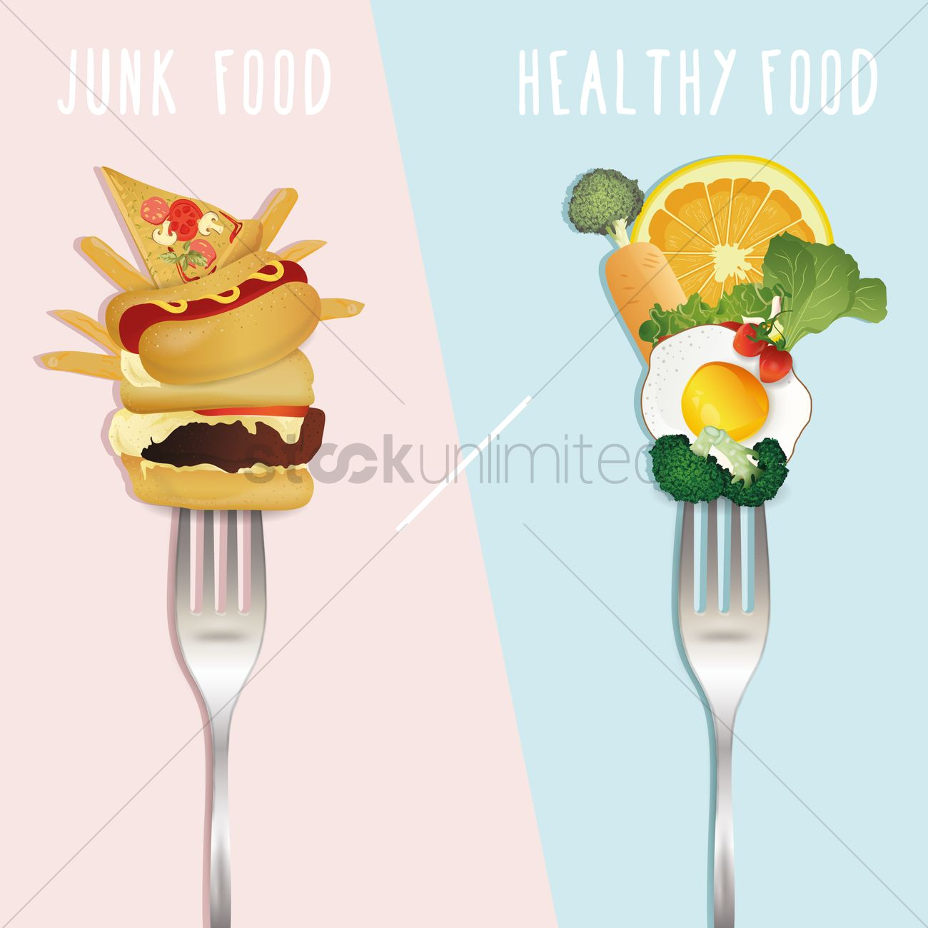 Healthy Food Versus Junk Food Design Vector Image