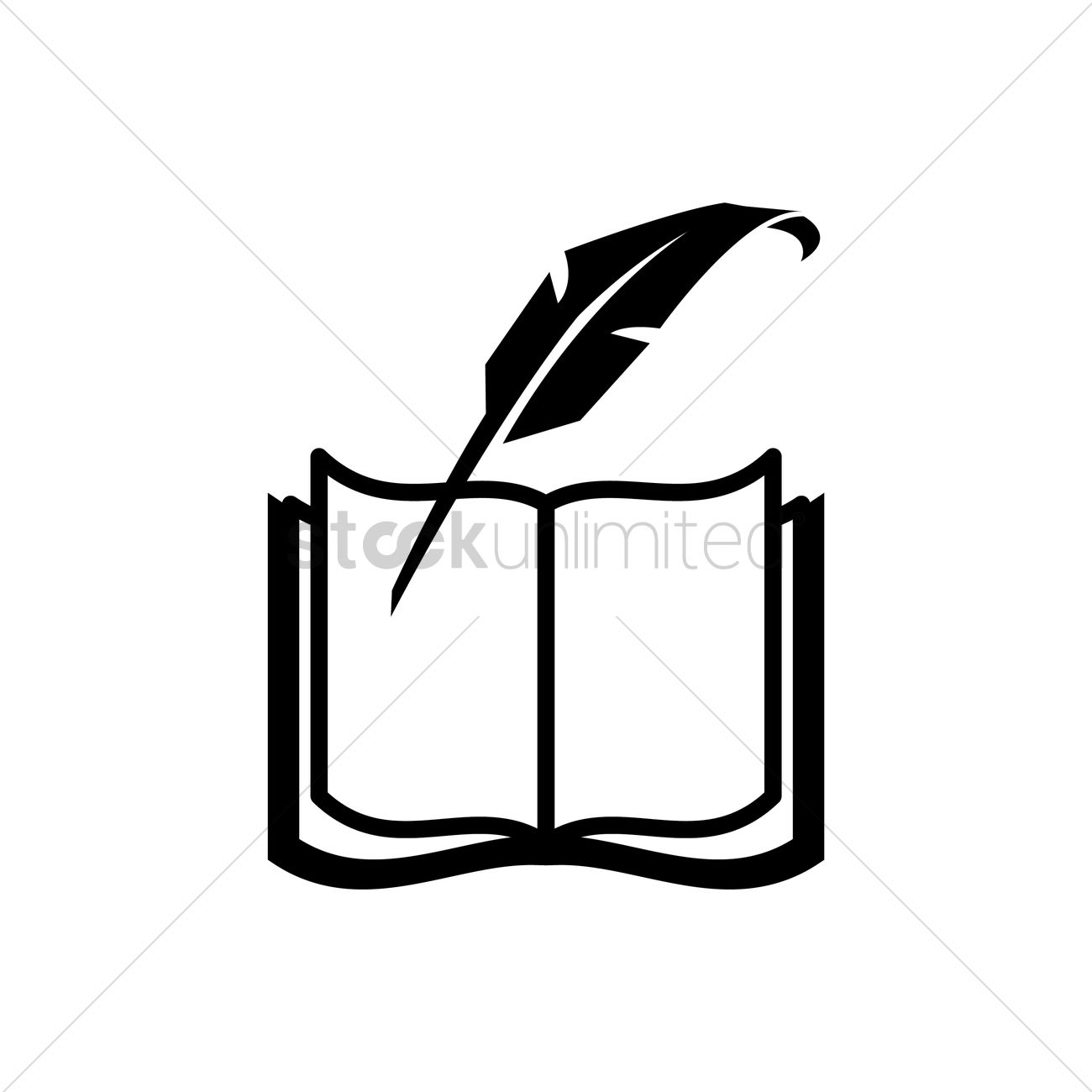 Opened Book With Quill Pen Vector Image