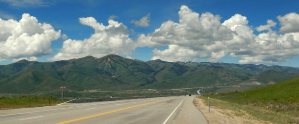 Interstate 80 heading west toward Salt Lake city through the Wasatch Front Range.