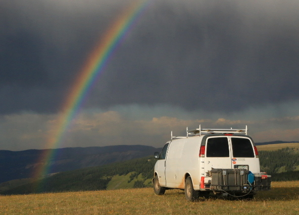 My camp on the Medicine Wheel Scenic Byway. I've been lcuy this summer to get many great rainbows, but this one was special!