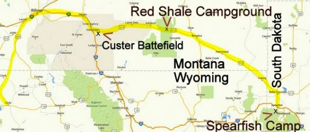 I left Cody, WY, drove to Billings, MT and shopped there and then toured Custer's Battlefield. That made it a long day so I spent the night i Custer National Forest in the free Red Shale Campground. The next day I drove onto Spearfish on the way to Sturgis.