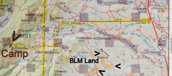This is a photo from the Delorme  Atlas and you can see it shows much detail. But, I find it shows too much and the map is confusing. The two together is ideal. The Benchmark Atlas shows me the bigger picture clearly, the DeLorme Atlas gives me details if I need them. It also shows BLM land.