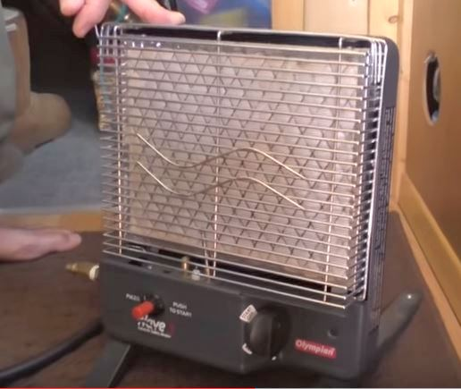 The Olympian Heater Wave 3. It's a true catalytic heater so it is safer than the Mr Heater Buddy series and it's low setting is 1500 btu which is better for a van or car. I wouldn't hesitate to leave one on while I was sleeping.