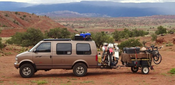 This is the Astro Mini-van my friends James in Kyndal live in. It's All-Wheel-Drive with a lift kit and 35 inch mud ties. They go wherever they want and they usually want to go remote.