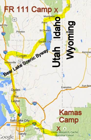 My route from the Kamas Camp to the Bear Lake Scenic Byway and into Idaho.