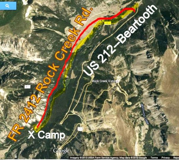 This is a satellite shot of the camp. Notice the Beartooth Highway (US 212) inding back and forth up the road directly opposite of our camp.