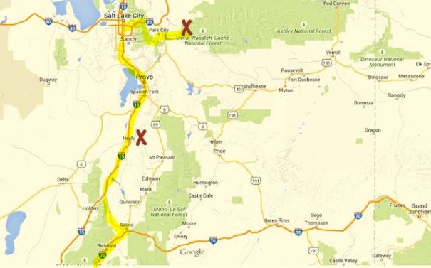 This is a map to my current location and my route to get here. As I type this I'm in the Wasatch-Uinta NF just above Kamas, Utah. My goal this summer is to drive the most beautiful mountain passes in the Rocky Mountains and I'm starting in NorthWest Utah heading into Wyoming from here.