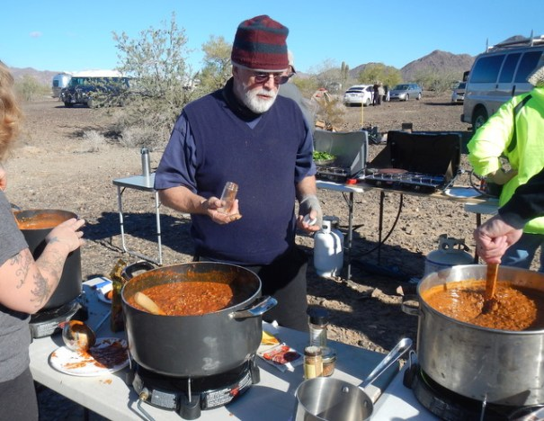 That's Peter working his magic on a huge pot of chili. You can se three pots in this shot and there were three others on the table behind him. He watched each and every one like a maestro directing a Grand Orchestra creating a work of art!