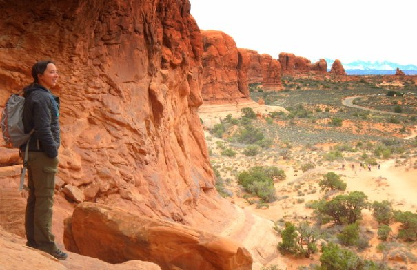 Deb enjoyiing the view n Arches MP.