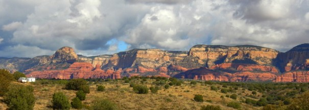 My Sedona camp with it's stunning view. You can see my trailer to the far left.