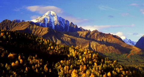 A snowy peak along the Matanuska River.