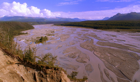 This is the Matanuska River just north of Anchorage. This is extremely typical of glacier-fed rivers all over Alaska