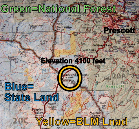I took a photo of a page from my Benchmark Atlas. In a quick glance it tells me where BLM, National Forest and State Land are located and the elevation of all towns nearby. That is extremely helpful for broad planning! My first step is always to get out my Benchmark and decide on a general area t go to. Then I use more detailed maps to narrow it down. Below you can see the BLM map and Delorme Topo program I used. In my next post I will discuss the Prescott National Forest MVUM map which was vitally important..