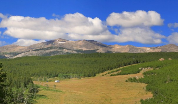 There are many really pretty meadows in the area and you can see a 5th wheel along the road--he had a great view!