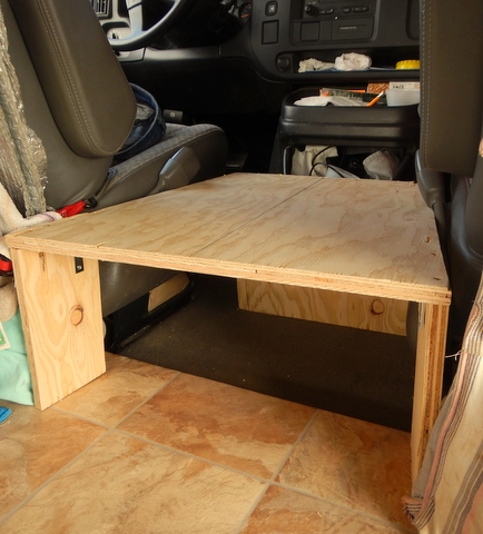 """making it was very simple. We had some scrap 3/4 inch plywood from the bed so cut out the  pieces. The legs are attached with screws driven down from the top and """"L"""" bracket to keep them steady."""