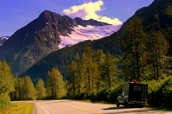 In this shot from 2006 that's my truck at the bottom of a random glacier on the road to Portage.