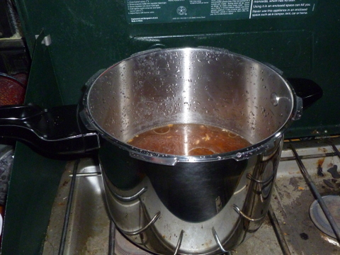 Cooking a pot of beans in my Presto pressure cooker. Delicious!