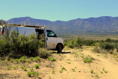 My van in our new camp. I love having mountains all around camp.