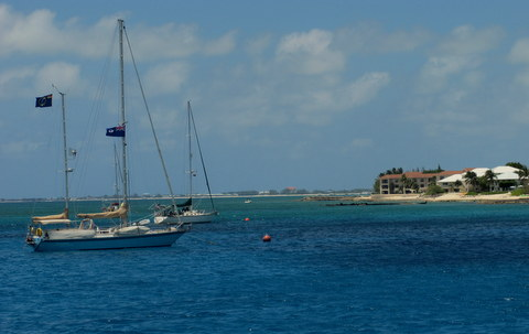 Private boats docked of Grand Cayman.