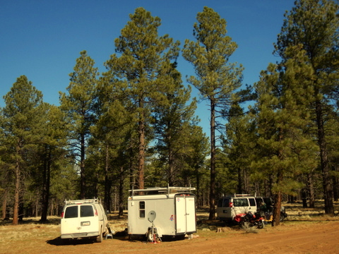 Judy's and my new camp about 10 miles from Flagstaff, AZ. It's so great to be back in the tall Ponderosa Pines again! Right now the weather is perfect but there is still a lot of winter left.