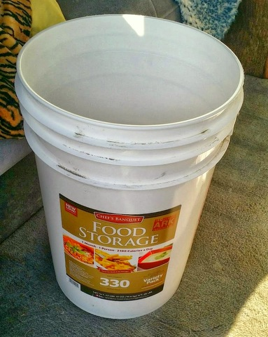 All the meals come sealed in a single 5 gallon bucket.