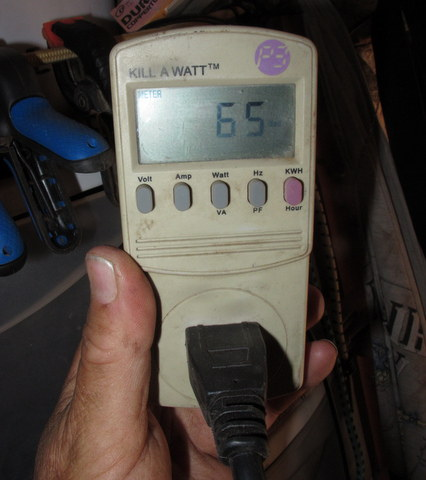 With a Kill-a-Watt meter you just plug the appliance into it and it reads the amps or volts of the item. My new Whytner fridge is drawing 65 watts right now.