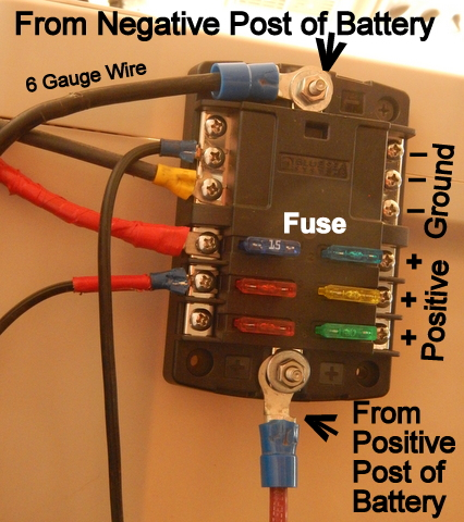 cheap rv living com installing a 12 volt fuse block 00 suburban fuse box wires step 3 connect the red wire to the positive post of the battery and to the positive post of the fuse block and the black wire from the negative post of the