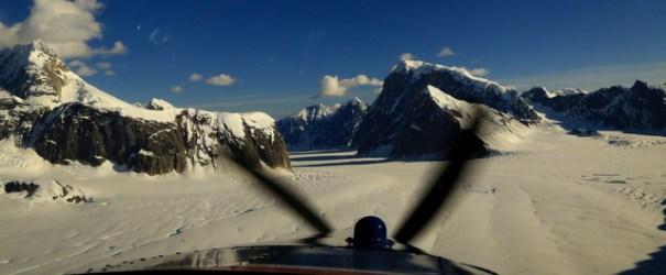 This is coming in for the landing. On the left is the cliff we are landing beside and down the gorge is the Ruth Glacier which we fly out of.