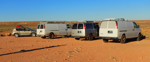 Our four rigs at Goosnecks State Park, UT