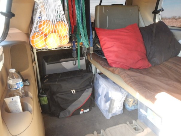 Jim's made no permanent changes to the van, everything, like the cot, can just be taken in and out.