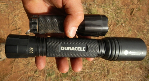 This Duracell flashlight has 500 Lumens and has a brighter beam than any other flashlight I've ever seen but only uses 3 C batteries.  I wouldn't be without it. The smaller one has 250 Lumens which for it's small size is amazing!