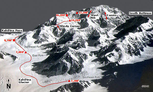 This photo I took from Wikipedia shows the various routes climbers take.  In the photo below we flew over Base Camp.