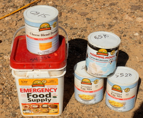 This is 47,000 calories (I wrote the number in each can on the lid). If you ration that down to 1000 calories a day this is 47 days supply of food but even at the full 2000 calories a day it's 23 days of food and has a 25 year shelf life. Nearly all of us can find room for it in our van if we have to.