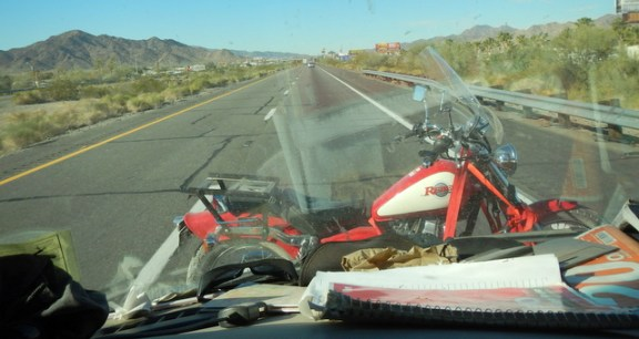 I took shot on the freeway from Quartzsite to Ehrenberg. I had no problems at all with the bike up there.