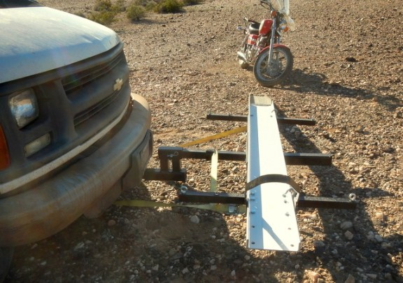 Here you can see just how far out the bike is from the van. I an get it cut down and it will be about 18 inches closer.