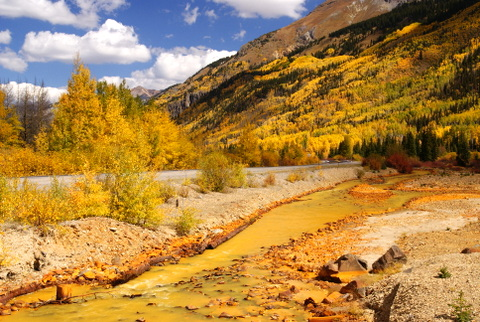 All the rest of these photos are from 5 years ago. This is Ironton Creek and it flows out of Red Mountain in the photo above. That is where all the heavy mineralization is coming from. That year had spectacular fall colors!