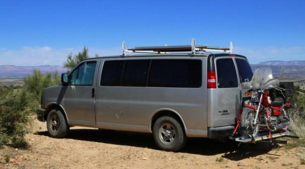 My Honda Rebel on the back of Judy's van.