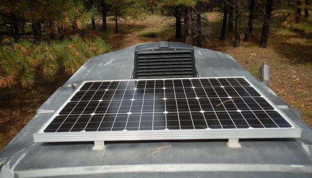 A 100 watt solar panel meets all his needs.