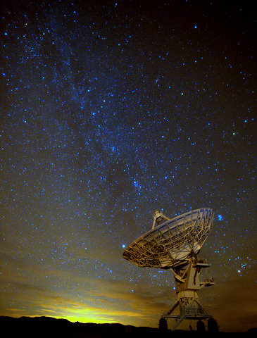 The Milky above a Radio Telescope at the VLA.  The glow at the bottom is from the lights of Albequerque about 100 miles away. Light pollution is the enemy of star photography.