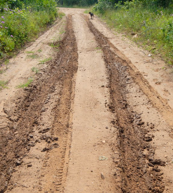 With the drainage ditch, in three hours the road had dried enough to let e claw my way up it. Having mud tires made all the difference here, street tires wouldn't have worked.