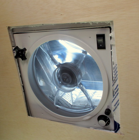 Here is a Fantastic Fan working. It really helps cool the van!
