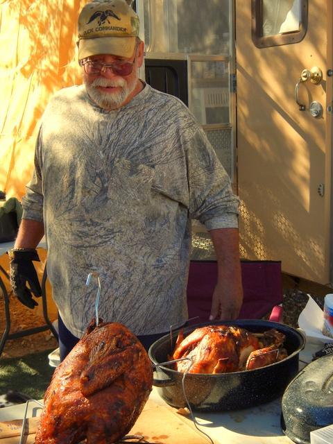 Steve and his two great masterpieces; 32 pounds of delicious turkey.