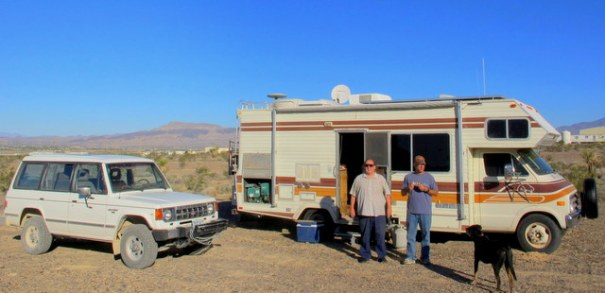 This rig belongs to another friend with an older Class C and tows a car. He want to be able to explore so he tows an older Mitsubishi Montero 4X4. It gets 22 MPG and is very good off-road. Again, he is 73 years old and has no problem hooking it up. the toad (towed vehicle).