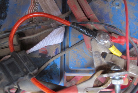 The In-line Fuse (and red wire all the way back to the Light Fixture) attached to the battery post.